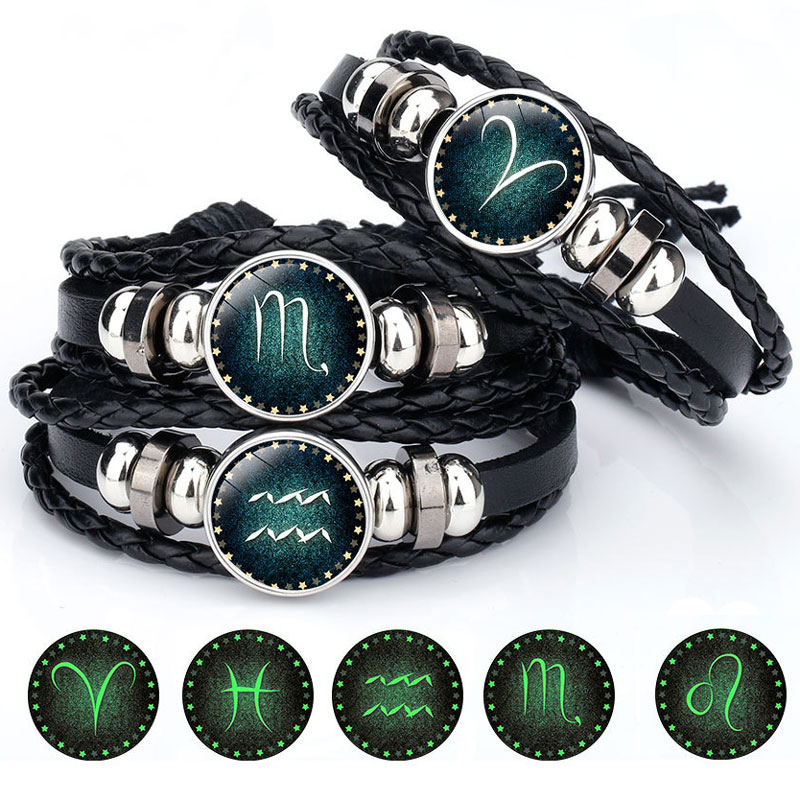 Luminous Signs of the Zodiac Decorated Leather Bracelet