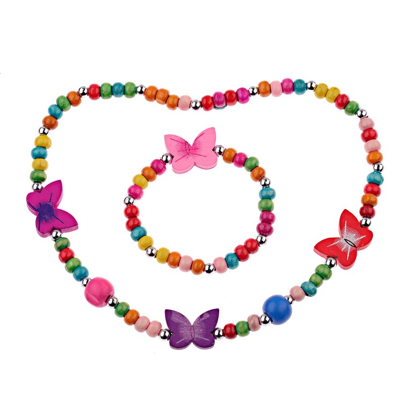 Girls' Colorful Wooden Necklace and Bracelet