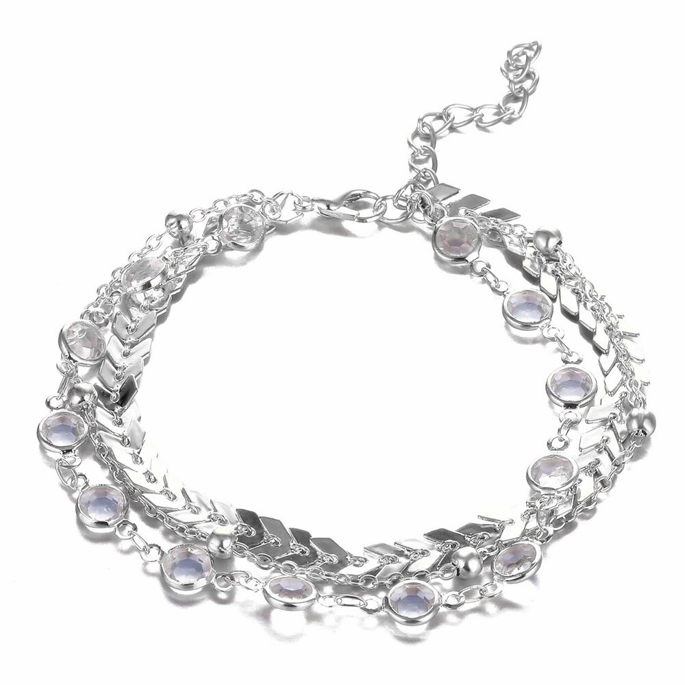 Women's Bohemian Crystal Multilayer Anklet
