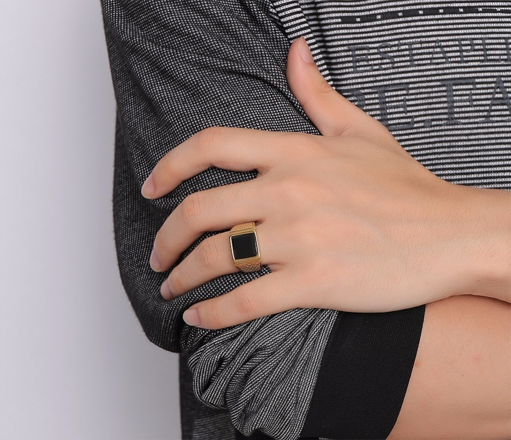 Stainless Steel Ring with Black Stone