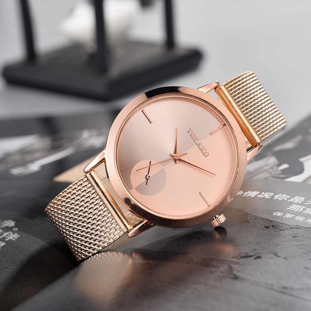Women Fashion Rose Gold Mesh Watch